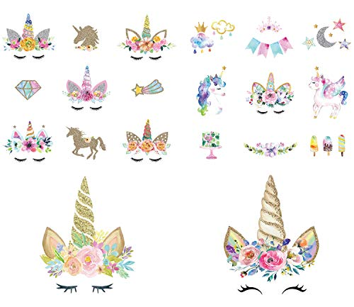 (Calculs Unicorn Iron On Transfers for Birthday Girl 20 Pcs Small HTV Decorations Stickers for Canvas Bag, Unicorn Accessories, Baby's Clothing )