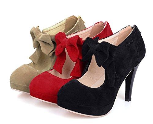 Maybest Vrouwen Vintage Party Bruids Schoenen Platform Hoge Hakken Pump Enkellaarzen Met Strik Rood