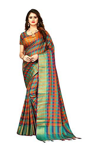 Indian Wedding Wear Sarees for Women Banarasi Checks Silk Woven Sari 9050 (Rama) ()