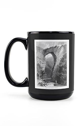 Virginia - View of the Natural Bridge and Cedar Creek (15oz Black Ceramic Mug - Dishwasher and Microwave Safe) -