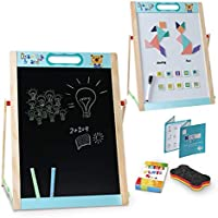 Arkmiido Kids Wooden Easel Small,Portable Easel for Kids Double-Sided Magnetic Letters and Numbers,Educationcal Whiteboard/Blackboard for Kids Toddlers Writing & Drawing 38 X 49 cm