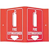 Brady 6'' X 8'' X 4'' White On Red Acrylic Safety Sign''Fire Extinguisher''