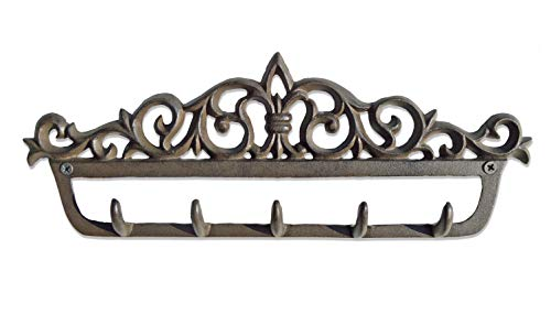 Vintage Metal Cast Antique (gasare, Key Holder for Wall, Cast Iron Hooks, Decorative, Rustic, 5 Hangers, 13 x 4 ¾ Inches, Cast Iron, Brown, Screws and Anchors,1 Unit)