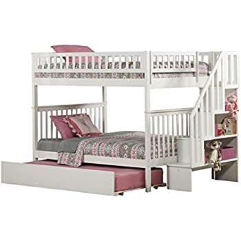woodland staircase bunk bed with urban trundle white full over full