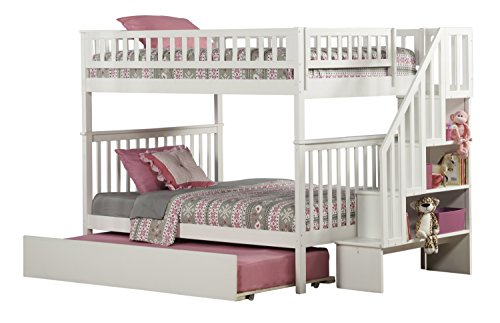 Woodland Staircase Bunk Bed with Urban Trundle, White, Full Over Full by Atlantic Furniture