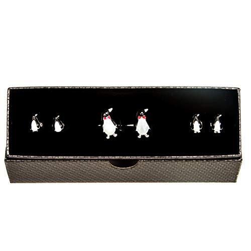 (MRCUFF Penguin Black White Tuxedo Cufflinks & Studs Formal Set in Presentation Gift Box & Polishing Cloth)