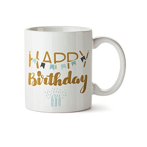 Happy Birthday Coffee Mug - Happy Birthday with Candles Funny Design Coffee Mug - Ceramic - 11 oz - Birthday Cup for Grandma, Mom, Dad, Sister, Aunt, Brother, Girlfriend, Boyfriend