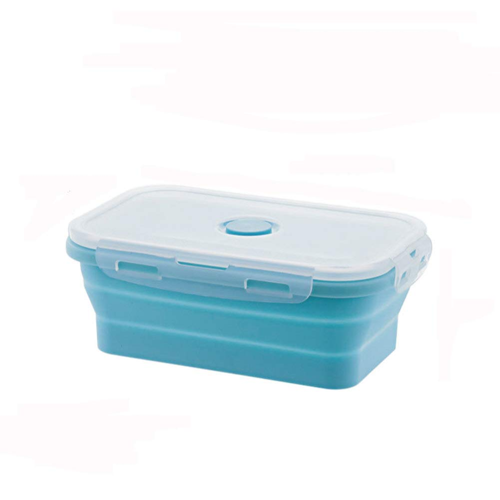 KnvcDey Silicone Collapsible Bowl,Camping Hiking Portable Travel Food Storage containers Lunch bento Box bpa Free Microwave Dishwasher and Freezer Safe Space-Saving-Blue A 350ml by KnvcDey