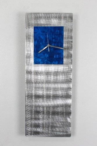 Silver & Blue Abstract Metal Hanging Wall Clock - Functional Modern Metal Wall Art Sculpture Accent - Blue Jazz By Jon Allen - 24-inch