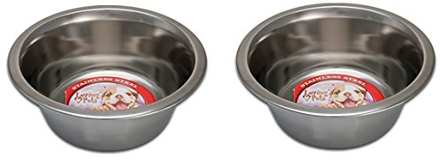 (2 Pack) Loving Pets Standard Stainless Dish Dog Bowl, 5-Quart -
