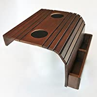 Sofa Arm Tray - Flexible Portable Coach Table - With Two 3 Drink Holder and Remote Control Box - Dark Brown - Wood