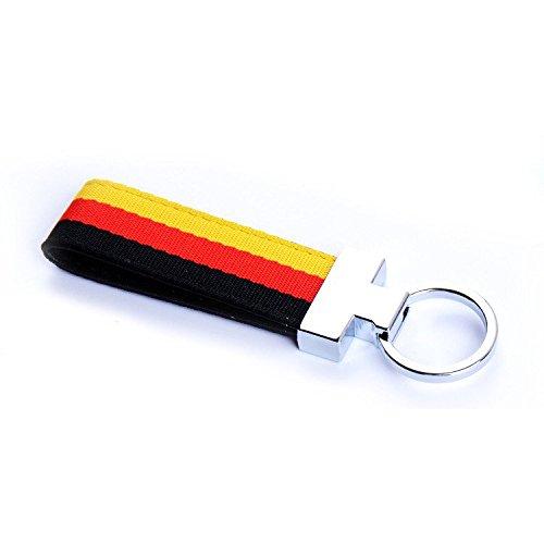BENZEE Germany Deutschland Flag Colored Stripe Nylon Band Car Key Chain Keychain Sport Racing For BMW BENZ AUDI (Flag Car Keychain)