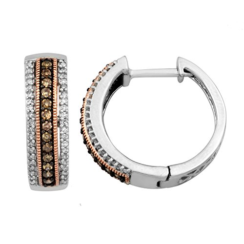 Pink Champagne Diamonds (Jewelili Sterling Silver with 10K Pink gold Champagne and White Diamonds Hoop Earrings,1/5cttw)