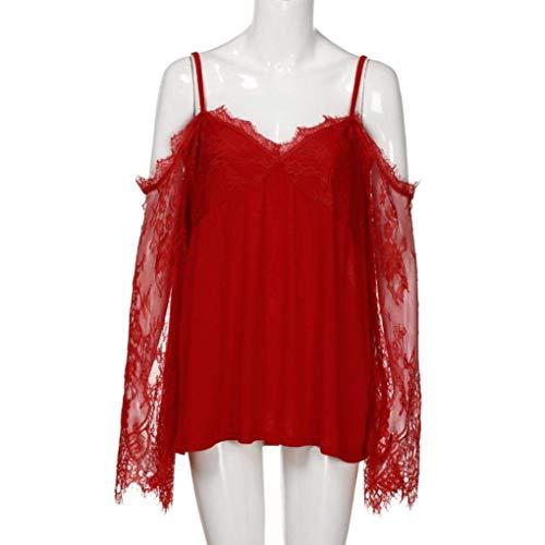T Prodotto Moda Plus Senza Donna Stlie Grazioso Estivi Giuntura Camicetta shirt neck Shirt Pizzo Lunga Donne Tops Spalline V Eleganti Bluse Rot Manica Fionda tT6wxq