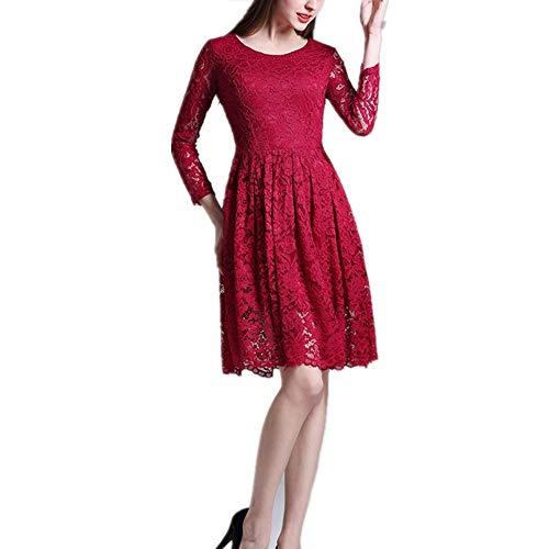 Isbxn Jupe de Robe lgante  Taille Haute en Dentelle  imprim Floral pour Femme (Color : Red, Size : S) Red