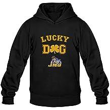 EVALY Men's Unique JMU James Madison University Dukes Lucky Dog Drawstring Hoodie Black