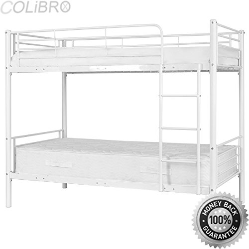 COLIBROX Metal Twin Over Twin Bunk Beds Ladder Kids Teens Dorm Bedroom Furniture White. metal bunk beds twin over twin. metal bunk beds walmart. metal bunk beds with futon. best - Beds Wal Mart Twin