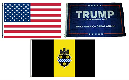 City Flag Pittsburgh (ALBATROS 3 ft x 5 ft Trump #1 with USA American with City of Pittsburgh Set Flag for Home and Parades, Official Party, All Weather Indoors Outdoors)