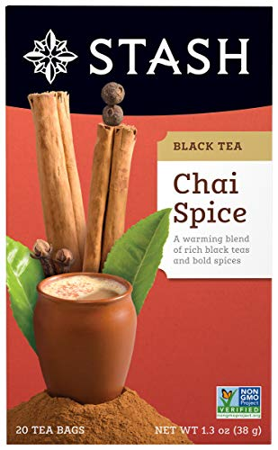 Stash Tea Chai Spice Black Tea, 20 Count Box of Tea Bags Individually Wrapped in Foil, Premium Black Tea Blended with Invigorating, Warming Spices, Drink Hot or ()
