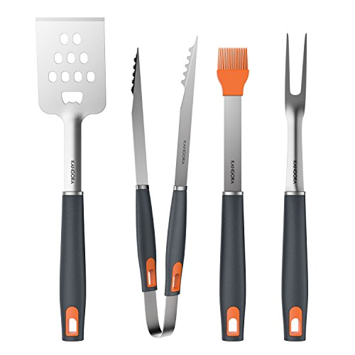 KANGORA BBQ Grill Tools Set with 4-Piece Barbecue Accessories by Premium Heavy Duty Stainless Steel Starter Grilling Utensils Tool Kit – Spatula, Tongs, Fork, and Basting Brush (4 Piece Set)