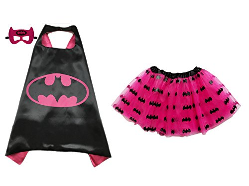 [Superhero or Princess TUTU, CAPE, MASK SET COSTUME - Kids Childrens Halloween (Batgirl - Hot Pink] (Halloween Costumes For Girl Kids)