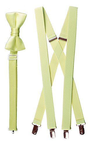 Tuxgear Baby-Boys Bow Tie and Suspender Set Combo, Light Yellow, Toddler 25 (25