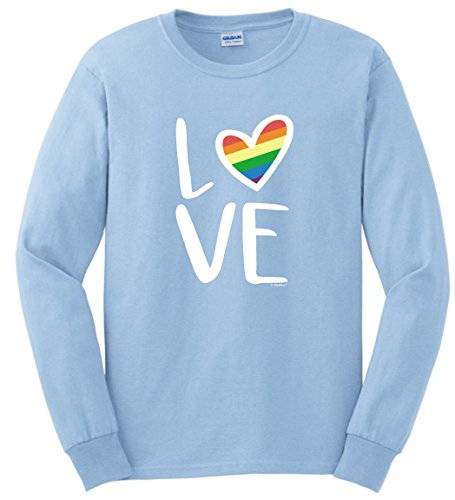 Gay Shirt Bisexual Flag Pride Poster Love Gay Pride Flag LGBT Rainbow Flag Filled Heart Long Sleeve T-Shirt Large LtBlu (One Way Belly Button Rings)