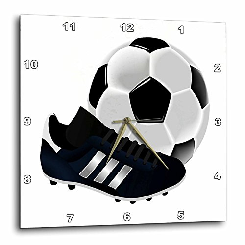 3dRose 3D Rose dpp_223403_1 Image of Soccer Ball and Shoe Close up-Wall Clock 10-Inch (1) by 3dRose