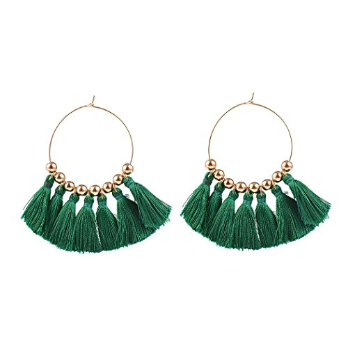 Edary Vintage Tassel Earrings Fashion Exaggerated Ear Hoop for Women and Girls (Green)