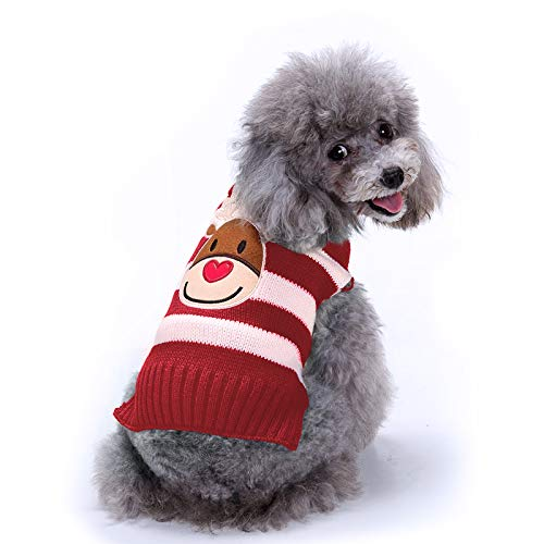 Raking Christmas Knitted Cotton Dog Hoody Turtleneck Sweater Jumper Costume Clothes Apparel Outfit XL, Deer-Red