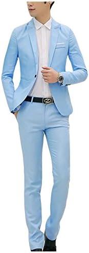 ビエスディディ メンズ 無地 スリム 2点セット フラットカラー 一つボタン トップス スキニー ロングパンツ カジュアル スーツセット