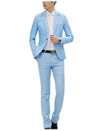 Jueshanzj Mens 2-Piece Suits Slim Fit Jacket and Pants for Wedding Party Suit