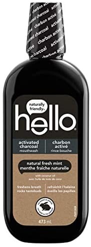 Hello Activated Charcoal Mouthwash, Natural Fresh Mint and Coconut Oil, Fluoride Free, Alcohol Free, Vegan, SL