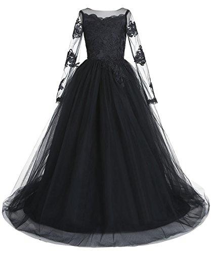 Belle House Black Tulle 2018 Flower Girl Dress for Weddings Ball Gown Bridesmaid Dresses with Long Sleeve Dress for Girls 7-16