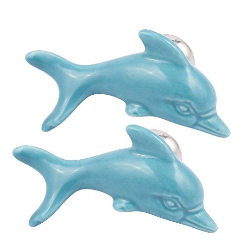 (uxcell Cabinet Wardrobe Drawer Door Pull Dolphin Shape Design Ceramic Knobs Blue 2pcs )