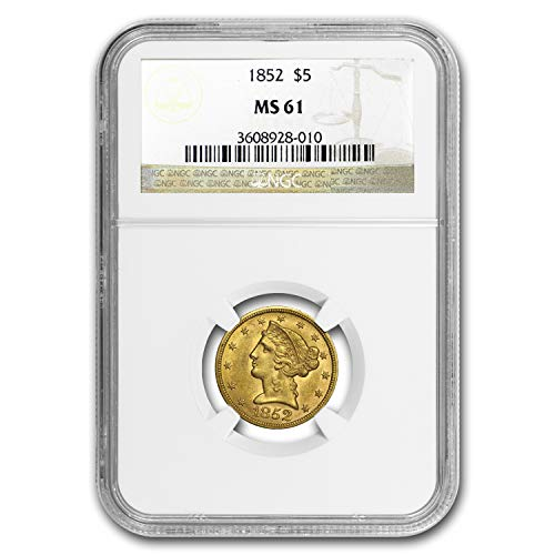 1852 $5 Liberty Gold Half Eagle MS-61 NGC G$5 MS-61 NGC