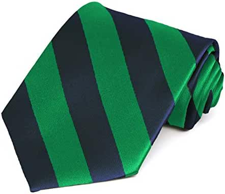 Kelly Green and Navy Blue Striped Tie