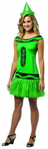 Costume Rasta Women (Rasta Imposta Crayola Illuminating Emerald Glitz & Glitter Dress, Green, Teen)