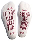 ''Bring Me Some Wine'' Luxury Combed Cotton Socks - Perfect Hostess or Housewarming Gift Idea for Women, Cute Present for Wine Lover, New Mom or Wife - By Haute Soiree