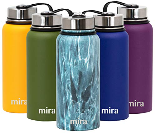 (MIRA 32 Oz Stainless Steel Vacuum Insulated Wide Mouth Water Bottle | Thermos Keeps Cold for 24 hours, Hot for 12 hours | Double Wall Powder Coated Travel Flask | Blue Granite)