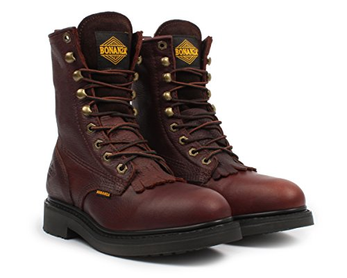 Kiltie Lacer Boot - Bonanza Men's BA-817 Kiltie Lacer Work Boots, Brown, 11