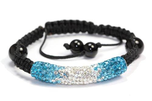 Ocean Blue Clear Shamballa Style Tube Bracelet Swarovski Crystal Bead Bangle (Swarovski Crystal Tube Bracelet)