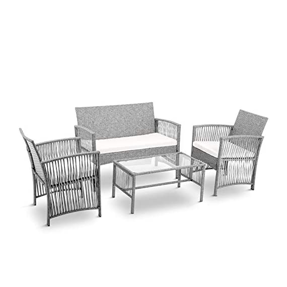 Merax Patio Conversation Set Outdoor Garden Lawn Pool Rattan Sofa Wicker Furniture Set Coffee Table Bistro Sets with Weather Resistant Cushions (Grey) - ✨Durable PE Rattan: This rattan outdoor patio set manufactured from hardy PE rattan and that is water proof and coated with a UV resistant coating, increasing the longevity for years of use. ✨Sturdy Steel Frame: Each piece of this outdoor furniture is meticulously constructed from powder coated steel, offering stability and build quality. ✨Modern Design: Sleek, elegant lines give this sofa set a unique, hollow look while also being breathable and comfortable, transforming your back garden into a relaxtion zone. - patio-furniture, patio, conversation-sets - 41Q nZ%2B9fAL. SS570  -