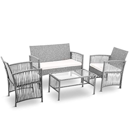 LZ LEISURE ZONE Patio Furniture Set 4 Pieces Outdoor Conversation Set with Wicker Sofa, Rattan Chairs, Coffee Table & Beige Cushions (Grey) ()
