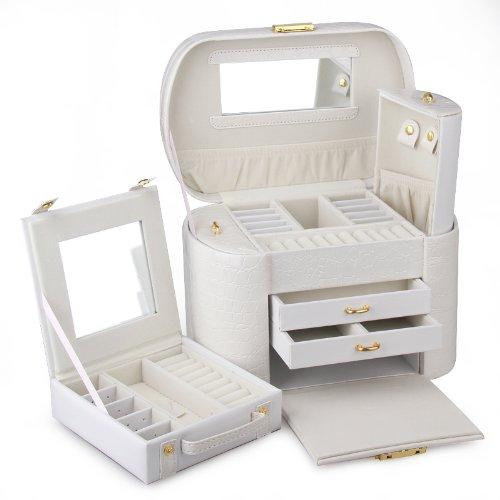 rowling schmuckkasten wei schmuckkoffer schatulle kosmetikkoffer mit mini box yg01520new. Black Bedroom Furniture Sets. Home Design Ideas