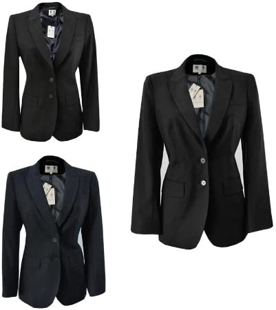 Austin Reed New Ex Ladies Womens Formal Suit Tailored Wool Jacket Uk 12 Dark Grey Amazon Co Uk Clothing