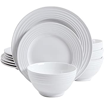 Gibson Home 12 Piece Plaza Cafe Round Dinnerware Set with Embossed Stoneware White  sc 1 st  Amazon.com & Amazon.com: Gibson Home 12 Piece Plaza Cafe Round Dinnerware Set ...