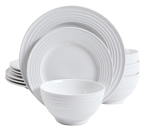 Gibson Home 12 Piece Plaza Cafe Round Dinnerware Set with Embossed Stoneware, - Stoneware 12