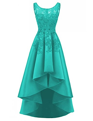 LOVING HOUSE Women's Beading Lace Wedding Party Dress Hi-lo Satin Prom Dress Evening Gowns Formal P019 Turquoise 14
