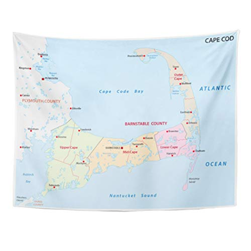 Emvency Wall Tapestry Plymouth Cape Cod Administrative Map Massachusetts Bay Outline Airport America Barnstable Canal Decor Wall Hanging Picnic Bedsheet Blanket 80x60 Inches